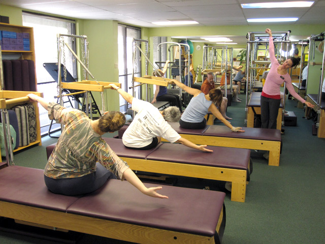 Heather Hopkins and pilates class